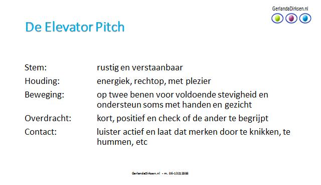 elevator pitch sollicitatie Vertel in een flits jouw elevator pitch – Gerlanda Dirksen elevator pitch sollicitatie